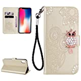 Glitter Diamond Wallet iPhone Xs Max Case,Ostop Gold PU Leather Embossed Flower Luxury Stand Purse,3D Owl Bling Rhinestone Crystal Magnetic Closure Flip Cover,Credit Card Holder Shell