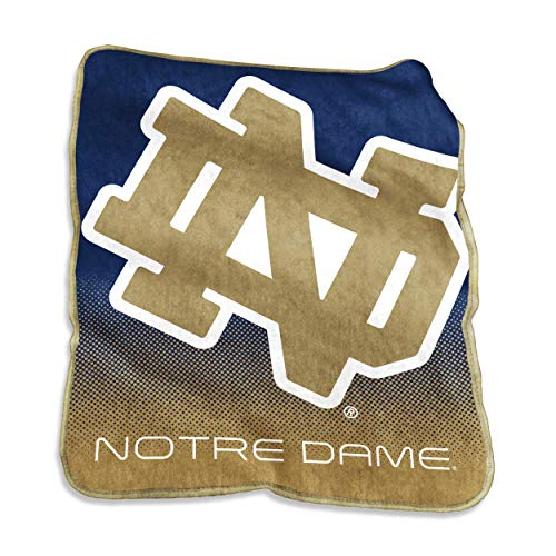 Logo Brands NCAA Notre Dame Fighting Irish Raschel Throw, One Size, Navy from Logo Brands