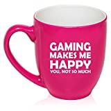 16 oz Large Bistro Mug Ceramic Coffee Tea Glass Cup Funny Gaming Makes Me Happy You Not So Much (Hot Pink)