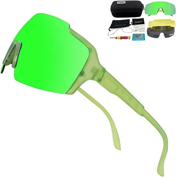 HTTOAR Gafas De Sol Deportivas,Polarizadas para Ciclismo Gafas,MTB Bicicleta Montaña Gafas, Ski Conducción Golf Salir A Correr Ciclismo Acampada Gafas (green): Amazon.es: Deportes y aire libre