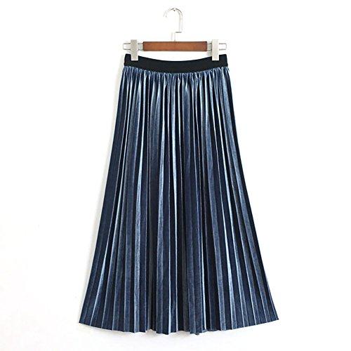 Denim Velvet Skirt (YOUMU Vintage Women A Line Pleated Velvet Skirt Flare Swing Midi Calf Dress)