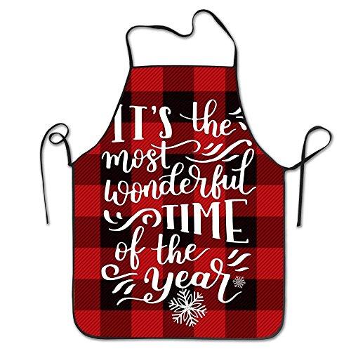 ZOZGETU A Little Buffalo Plaid and Christmas Cheer Personalized Aprons Professional Bib Apron for Women Men Girl Kids Gifts Kitchen ()