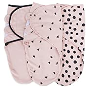 Adjustable Swaddle Blanket Infant Baby Wrap Set 3 Pack 0-3 Months,for Baby Girl Black and Blush Pink Combo by Ely's & Co.