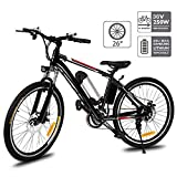 Aceshin 26'' Electric Mountain Bike with Removable Large Capacity Lithium-Ion Battery (36V 250W), Electric Bike 21 Speed Gear and Three Working Modes Black (US Stock)