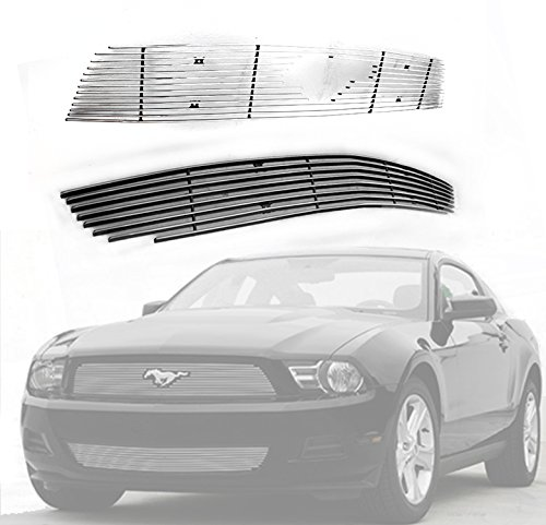ZMAUTOPARTS Upper + Bumper Billet Grille Grill Insert 2pcs Combo Pony Cutout For 2010-2012 Ford Mustang V6