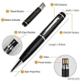 MINICUTE Hidden Camera Spy Pen 1080P- Bundle 32GB Mirco Card  8 Ink Fills Updated batterySD card Adapter Card reader-Real 2560 x 1920HD Video+Voice&Image Recorder