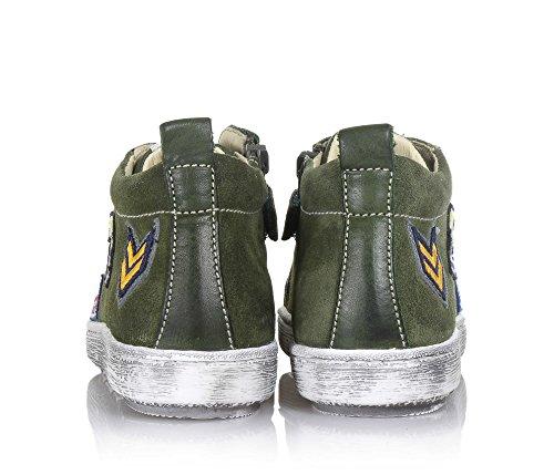 Verde Latérale Éclair Et Fermeture Garçon Décorations Garçons Militaire Vert Colorées Basse Scuro Cuir En Naturino Sneaker Suède ZvHwHqA