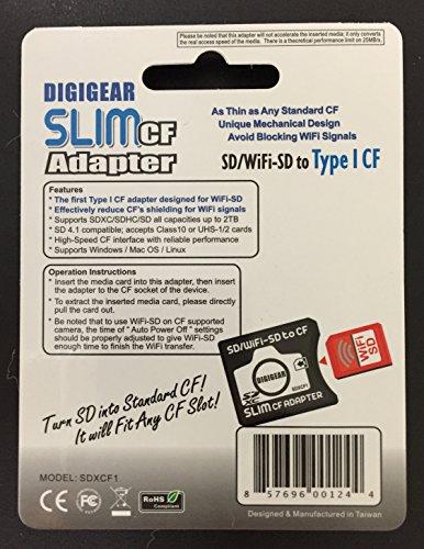 Digigear Slim Cf Adapter Sd Sdhc Sdxc Wifi Sd Eyefi To Type I
