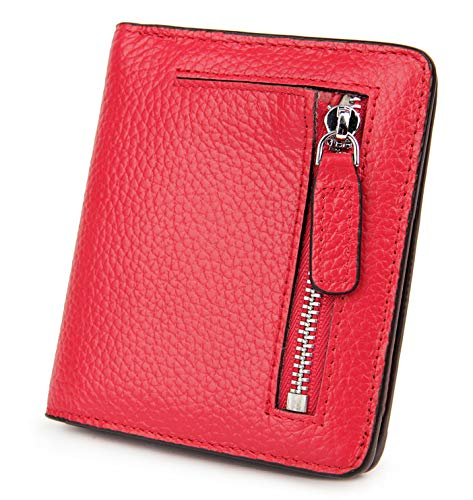 - BIG SALE-AINIMOER Women's RFID Blocking Leather Small Compact Bifold Pocket Wallet Ladies Mini Purse with id Window (Red)