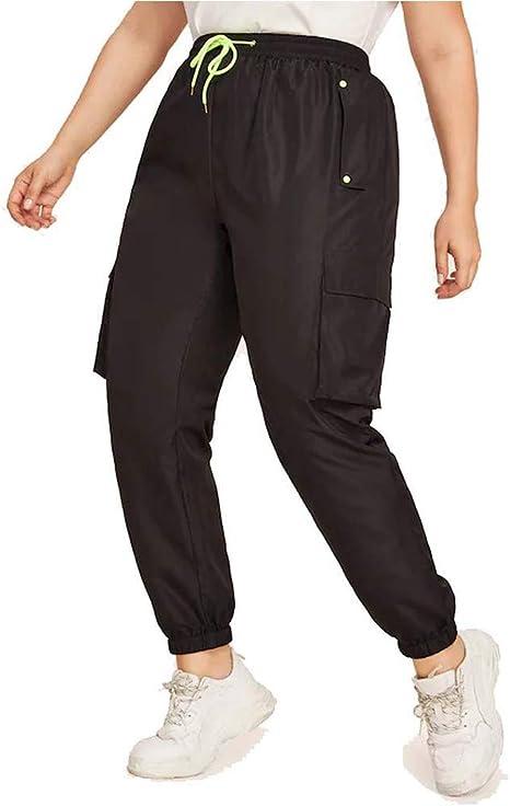 FGDJEE - Pantalones de chándal de neón para mujer con bolsillo ...