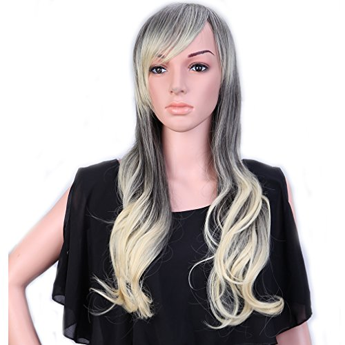 [28'' / 70cm Synthetic Wig Ombre 2 Tone Color Japanese Kanekalon Fiber Heat Resistant Full Wig with Bangs Long Curly Wavy Costume Wigs Dip-dye +Stretchable Elastic Wig Net ,Grey to] (Invisible Man Costume Diy)