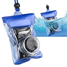 eForCity Waterproof Camera Case with Rope, Blue