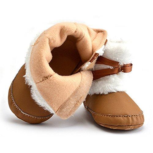 Cálido a-nam para bebé Aprendizaje Caminar Firstwalker zapatos botas, suave algodón hecho rosa rosa Talla:11 cm caqui