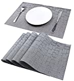 High Kitchen Table Mint Cook Washable Heat-resistant Placemats for Dining Table or Kitchen,Easy to Clean Woven Vinyl Place Mats,Reversible and elegant Placemats,(Silver, Set of 4)