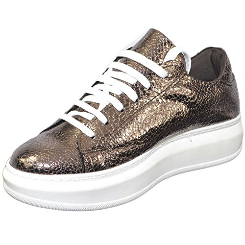 Pelle Ginnico Bottolato In Vera Italy Scarpe Moda Glamour Sportivo Made Bronzo Donna Sneakers qwH6aH