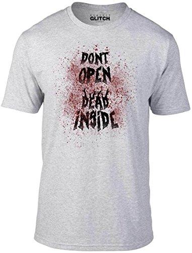 (Reality Glitch Don't Open Dead Inside T-Shirt (Light Grey-XX-Large))
