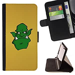 DEVIL CASE - FOR Sony Xperia M2 - Green Monster Alien Drawing Art Comic Cartoon - Style PU Leather Case Wallet Flip Stand Flap Closure Cover