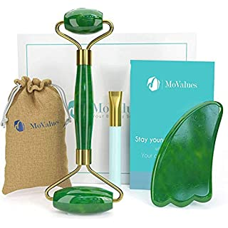Original Jade Roller and Gua Sha Set - Jade Roller for Face - Face Roller: 100% Real Natural Jade - Face Massager, Facial Roller for Skin, Eyes, Neck- Authentic, Durable, Noiseless Design