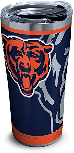 - Tervis 1299990 NFL Chicago Bears Rush 20 oz Stainless Steel Tumbler with lid, Silver