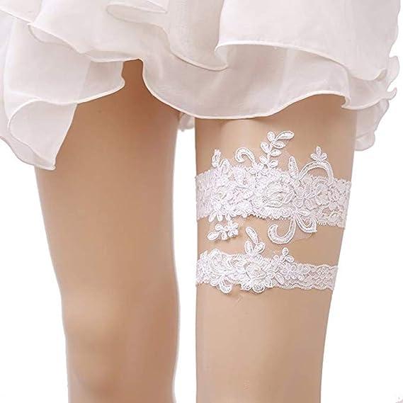 09f073e3cbf Bhwin Rhinestones Lace Bridal Garter Belt Set Vintage Beaded Wedding Garter  (Style 1)