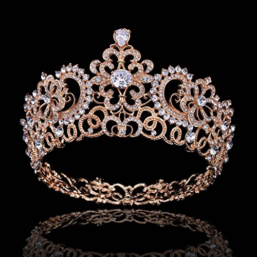 FUMUD Cubic Zirconia Elegant Wedding Bridal Tiaras Crown Princess CZ Crown Rhinestone Hair Accessories Bride Jewelry For Women Girl (Gold) ()