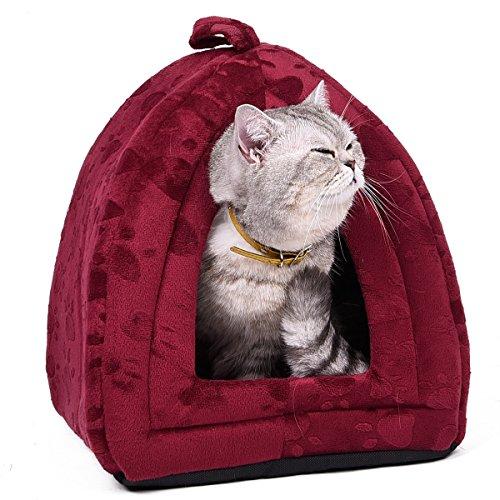 OHANA Haustierbett in Iglu Form mit Pfotendruck und Kissen Geeignet für Katzen und kleine Hunde