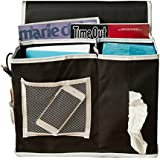 Bedside Caddy Storage Organizer 6 Roomy Pockets. The bedside caddy is durable and hangs over the side of your mattress and holds items like books, magazines, flashlights, accessories and medications