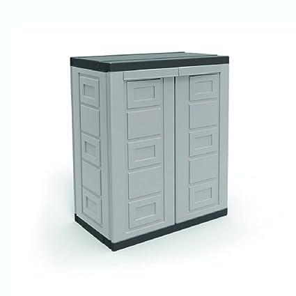 amazon com contico 2 shelf plastic garage base utility cabinet rh amazon com plastic garage storage cabinets home depot cheap plastic garage storage cabinets