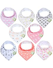 Baby Bandana Drool Bibs for Girls - Super Absorbent Organic Cotton Bandana Bibs - Baby Drool Bib - Teething Bibs - Handkerchief Bibs for Infant, Toddler (Pink Dreams)