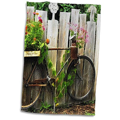 east urban home A Old Rusty Bicycle as a Flower Stand with a Drawing Effect Hand Towel from east urban home