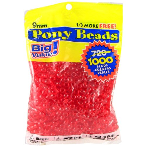9 Mm Bead (Darice 9mm Value Pack Pony Bead, Transparent Red)