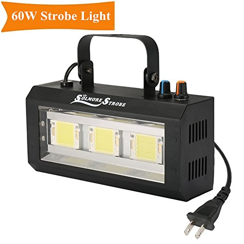 Strobe Light,SOLMORE 60W LED DJ Party Lights Stage Lighting with Sound Activated and Speed Control for Wedding Birthdays Party DJ Club Disco KTV Bars AC 100-240V