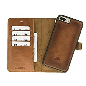 Burkley Detachable Leather Wallet Case for Apple iPhone 8 Plus / 7 Plus with Magnetic Closure and Premium Snap-on | Book Style Cover with Card Holders and Kickstand in a Gift Box (Burnished)
