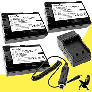 Three Halcyon 1300 mAH Lithium Ion Replacement Battery and Charger Kit for Sony Cyber-shot DSC-HX200V Digital Camera and Sony NP-FH50