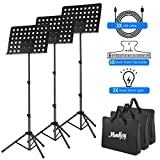 3-Pack MMS-2 Metal Adjustable Sheet Music Stand Portable With Music Stand Light Carrying Bag Black