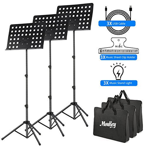 3-Pack MMS-2 Metal Adjustable Sheet Music Stand Portable With Music Stand Light Carrying Bag Black by Moukey