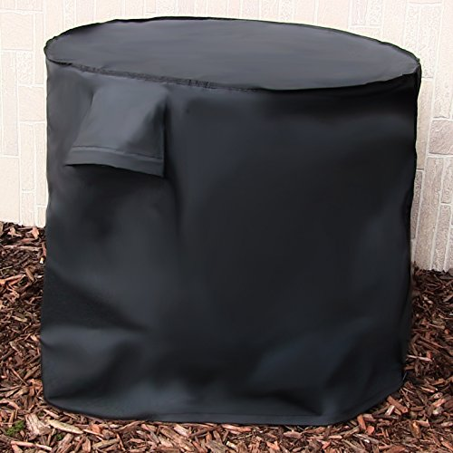 Sunnydaze Heavy Duty Round Air Conditioner Cover, Black, 34 X 30 Inch