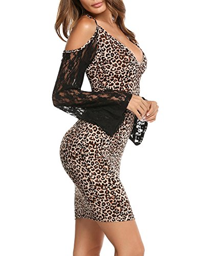 ANGVNS Women's Sexy Lace Flare Sleeve Leopard Print Open Back Club Party Pencil Dress, L, Wheat ()