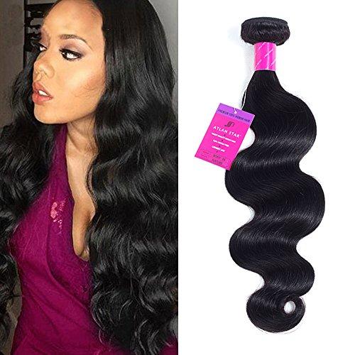 ATLAN STAR Brazilian Hair Body Wave Weave 12 Inches 1 Bundles 7A 100% Unprocessed Virgin Human Hair Natural Black Color