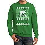 TeeStars - Bear + Deer = BEER Ugly Christmas Sweater Funny Sweatshirt Large Green