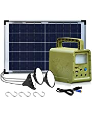 ECO-WORTHY Portable Power Station, Solar Generator with 18W Solar Panel, Flashlights, Camp Lamps with Battery, USB DC Outlets, for Outdoor Camping, Home Emergency Power Supply, Hurricane, Fish