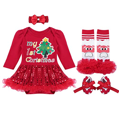 YiZYiF Baby Girls Outfits Newborn Infant Baby's First Christmas Tutu Dress Up (0-3 Months, Sequins Red -
