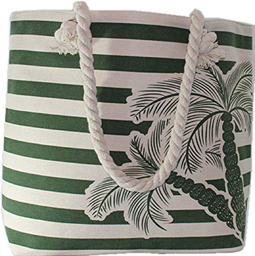 - Beach Tote Bag Olive Green Stripes with Palm Tree Full Top Zipper Rope Handle Inside Pocket 22
