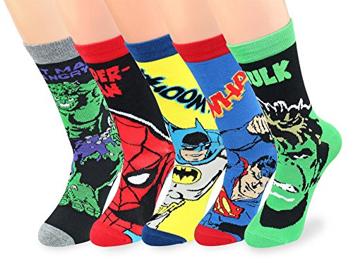 V28 Men's Cool with Various Crazy Pattern Mixed Colors Crew Socks (One Size, 5-Mixed-Heros-2)