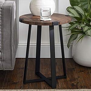 Walker Edison Anastasia Modern Metal Wrap X Base Accent Table, 18 Inch, Dark Walnut