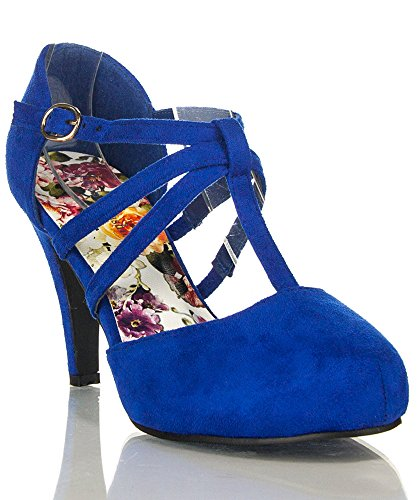 ROF Coco-01 Women's Vegan D'orsay Mary Jane T-strap Mid Heel Dress Platform Pumps Shoes NAVY SUEDE (7) (Suede Dress Shoes For Women)