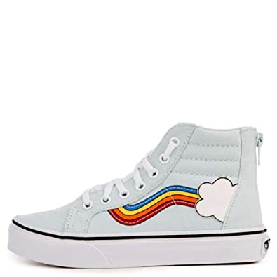 df79f49a8faea2 Vans Kids K SK8-HI Zip Rainbow SIDESTRIPE Blue White Size 1  Amazon.co.uk   Shoes   Bags