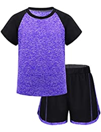 CHICTRY 2PCS Big Girls Child Active Set Fitted Briefs and High Neck Long Sleeved Lace Top Sports Tracksuit Outfits