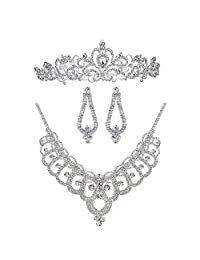 Bella-Vouge Rhinestone Crystal Statement Bridal Necklace + Earrings + Crown Jewelry Sets-NO.159