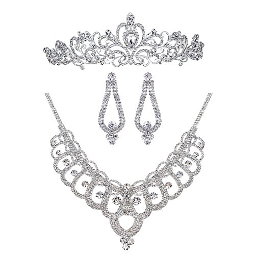 Bella-Vogue Rhinestone Crystal Statement Bridal Necklace + Earrings + Crown Jewelry Sets-NO.159